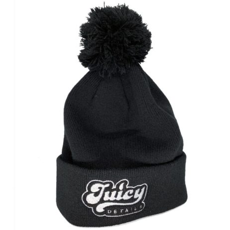 Juicy Details black bobble beanie hat